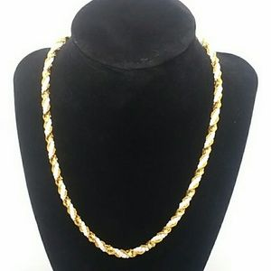 Monet Gold-Tone and white bead Braided Necklace